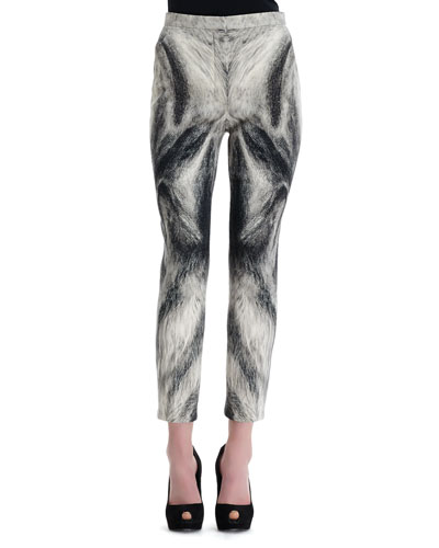 Alexander McQueen Fox Fur-Print Cropped-Ankle Pants