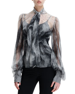 Alexander McQueen Chiffon Fox Fur-Print Long-Sleeve Blouse