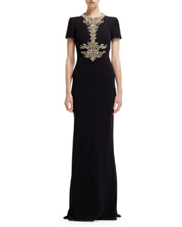 Alexander McQueen Jewel Encrusted-Neck Short-Sleeve Gown