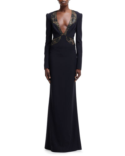 Beaded-Illusion Trim Plunging V-Neck Gown