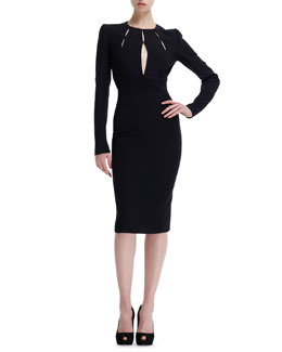 Alexander McQueen Slit-Bodice Long-Sleeve Leaf Crepe Dress