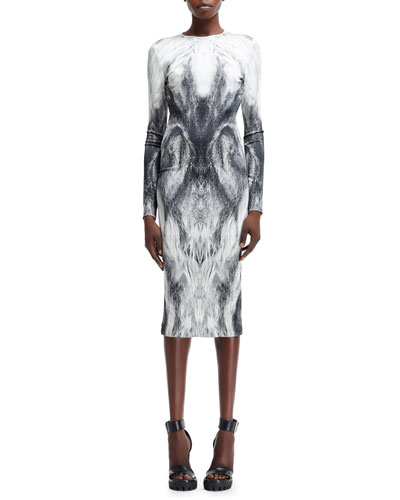 Alexander McQueen Long-Sleeve Fur-Printed Jersey Dress, White/Black