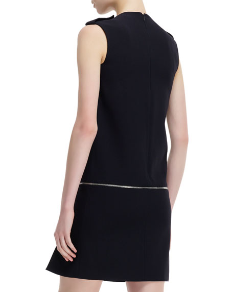 Zip-Off Detail Jewel-Neck Dress