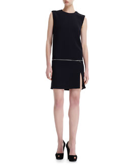 Alexander McQueen Zip-Off Detail Jewel-Neck Dress