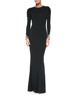 Alexander McQueen Long-Sleeve Gown with Crystal Cuffs
