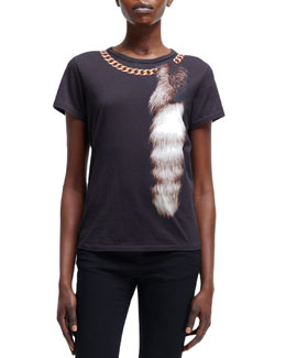 Alexander McQueen Fox-Tail & Chain Optic Print Tee