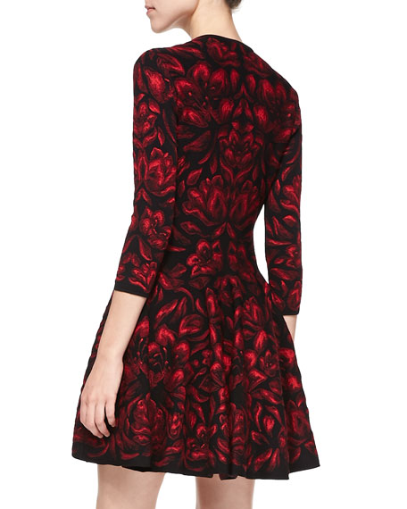 Long-Sleeve Full-Skirt Dress, Black/Red