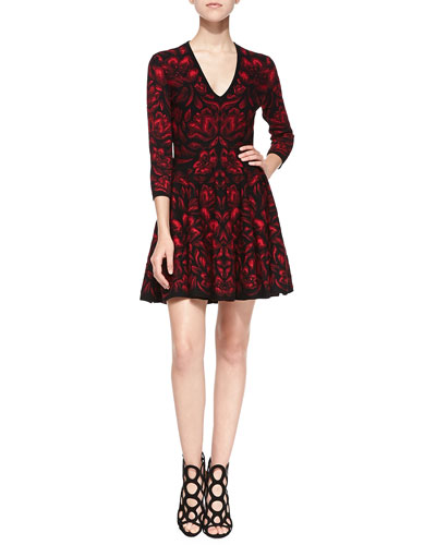 Alexander McQueen Long-Sleeve Full-Skirt Dress, Black/Red