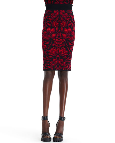High-Waist Tulip Jacquard Skirt, Black/Red