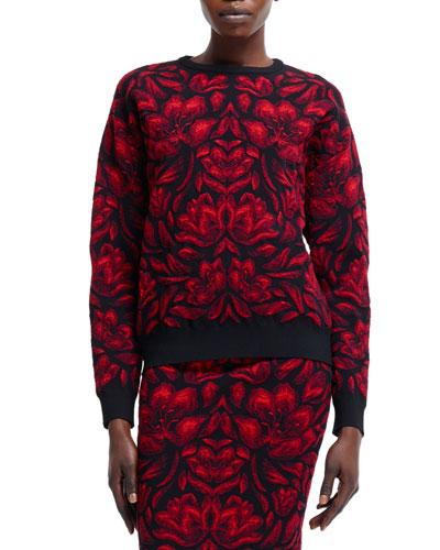 Alexander McQueen Tulip Jacquard Knit Sweater, Black/Red