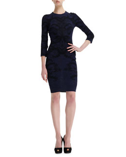 Alexander McQueen Spine Lace Jacquard 3/4-Sleeve Dress