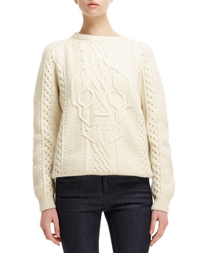 Alexander McQueen Cable-Knit Skull-Design Sweater