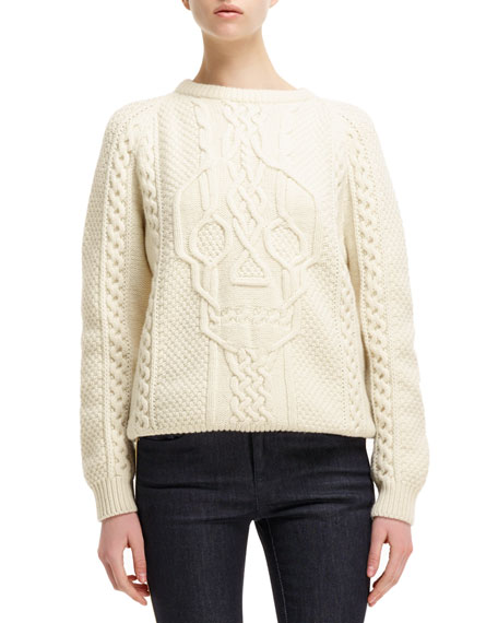 Cable-Knit Skull-Design Sweater