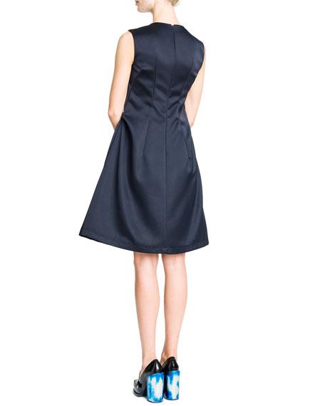 Sleeveless Vertical Seamed A-Line Dress, Navy