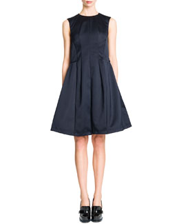 Jil Sander Sleeveless Vertical Seamed A-Line Dress, Navy