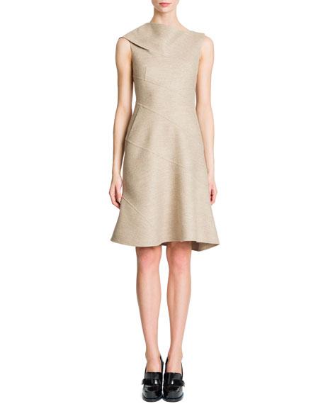 Sleeveless Spiral Seam Flap Shoulder Dress, Tan