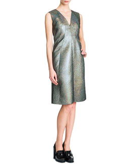 Jil Sander Sleeveless V-Neck A-Line Dress, Silver