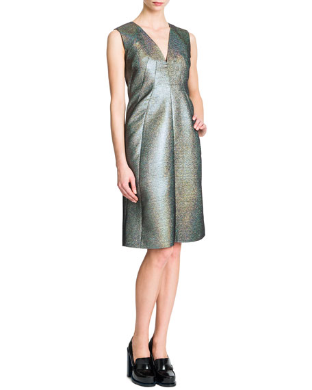 Sleeveless V-Neck A-Line Dress, Silver