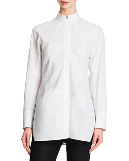 Jil Sander Button-Front Mock-Collar Tunic