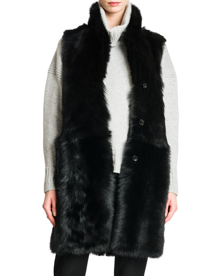 Reversible Shearling Fur/Leather Vest, Black