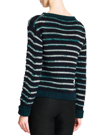 Wavy-Stripe Cropped Knit Sweater