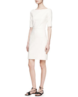 THE ROW Devery Elbow-Sleeve Scuba Dress