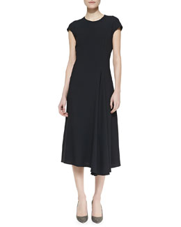 THE ROW Koto Cap-Sleeve Crepe Dress