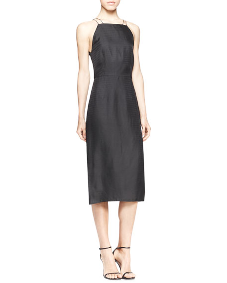 Strapless Geometric Jacquard Dress