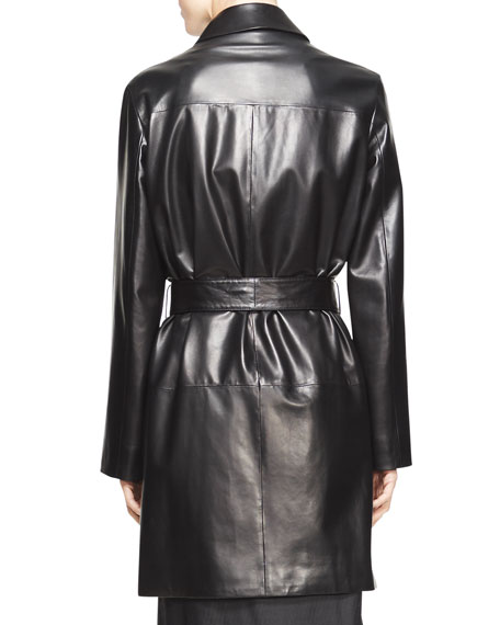 Parkan Belted Leather Coat