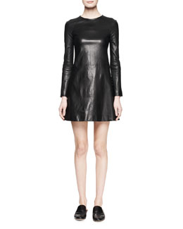 THE ROW Hawnler A-Line Leather Dress