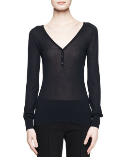 THE ROW Sohn Cashmere-Silk Henley Top