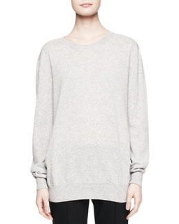 THE ROW Rose Cashmere Sweater Top, Gray Melange