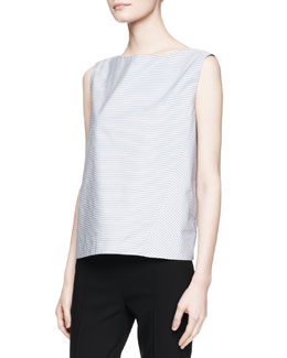 THE ROW Arles Striped Solid-Back Top