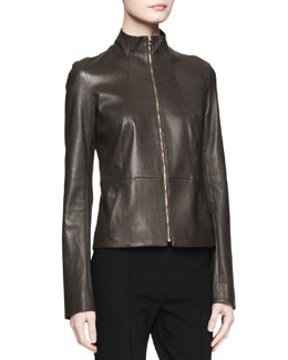 THE ROW Linear Leather Zip Jacket