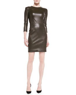 THE ROW Leverton Shiny Leather Sheath Dress