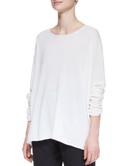 eskandar Slim-Sleeve Raw-Edge Cashmere Bateau Top, White