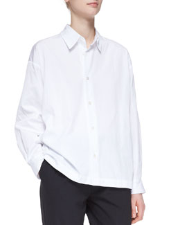 eskandar Slim Shirt with Collar, White