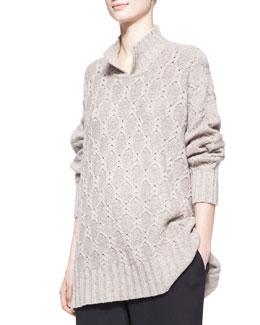 eskandar Wide Slit-High-Neck Sweater, Natural