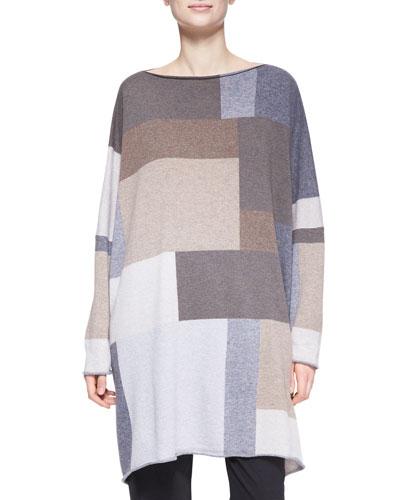 eskandar Square Slim-Sleeve Cashmere Top