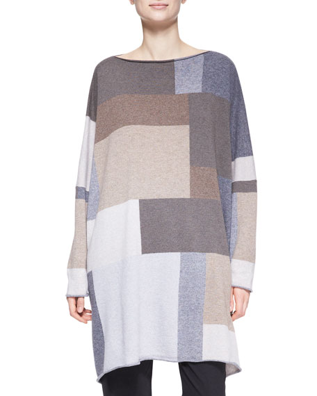 Square Slim-Sleeve Cashmere Top