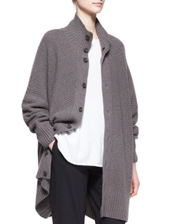 eskandar Wide Cashmere High-Neck Button Cardigan, Bison