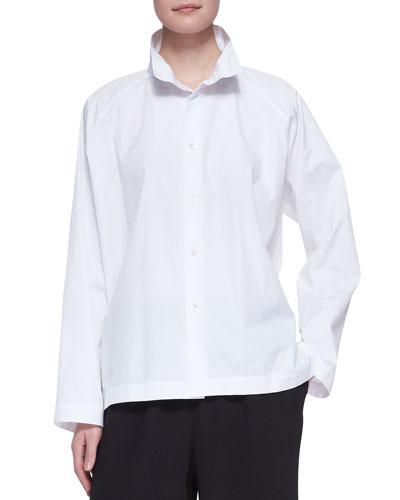 eskandar 3/4-Width High-Collar Shirt, White