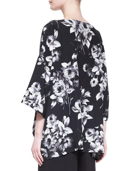 3/4-Sleeve Bateau-Neck Floral Tunic