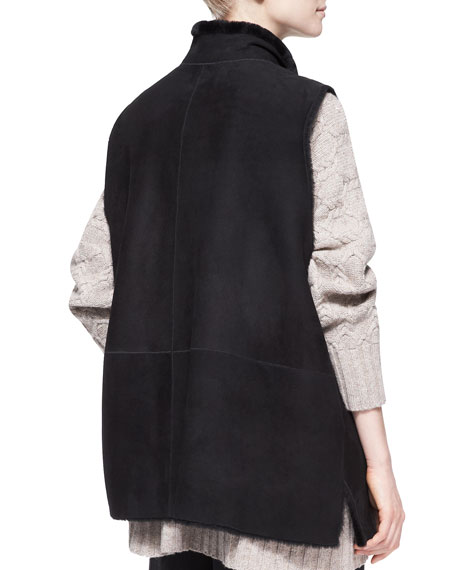 Imperial Fur-Lined High-Neck Waistcoat, Black