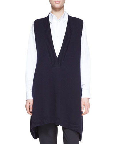 eskandar A-Line Sleeveless Deep-V Long Cashmere Sweater, Dark Navy