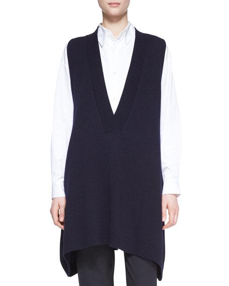 A-Line Sleeveless Deep-V Long Cashmere Sweater, Dark Navy