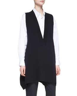 eskandar A-Line Sleeveless Deep-V Long Cashmere Sweater, Black