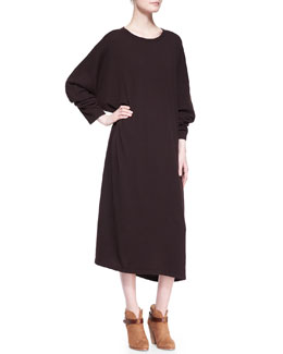 eskandar Round-Neck Cashmere Dress, Port