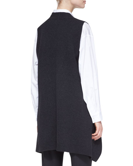 A-Line Sleeveless Deep-V Long Cashmere Sweater, Coal