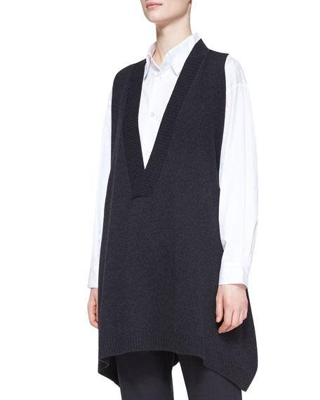 A-Line Sleeveless Deep-V Long Cashmere Sweater, Coal